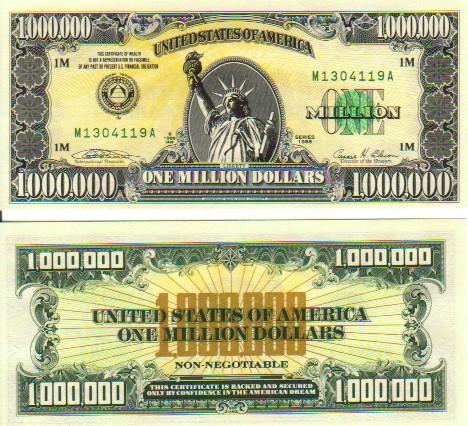 to spend a  1 million bill $1 Million Dollar Bill Got